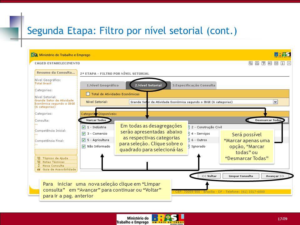 Segunda Etapa: Filtro por nível setorial (cont.)