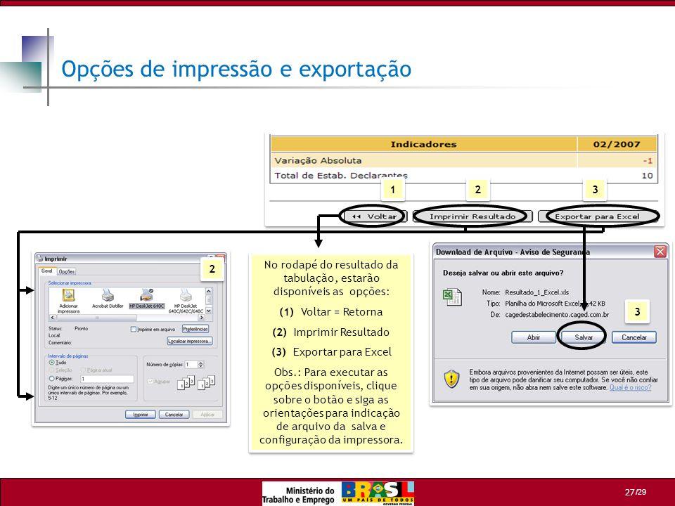 Opções de impressão e exportação