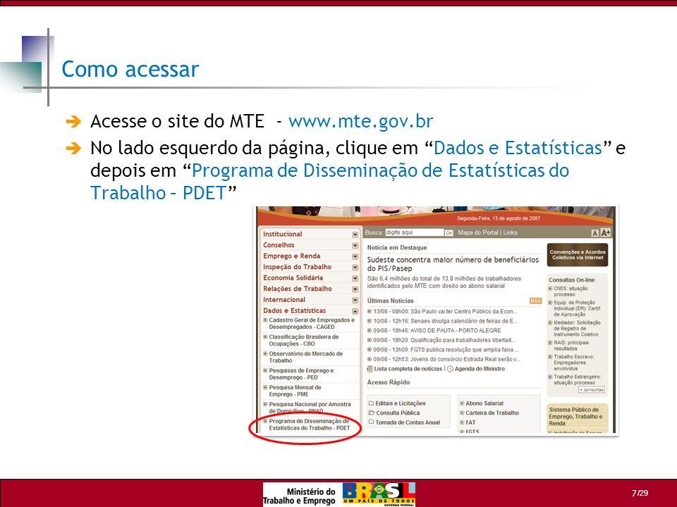 Como acessar Acesse o site do MTE - www.mte.gov.br