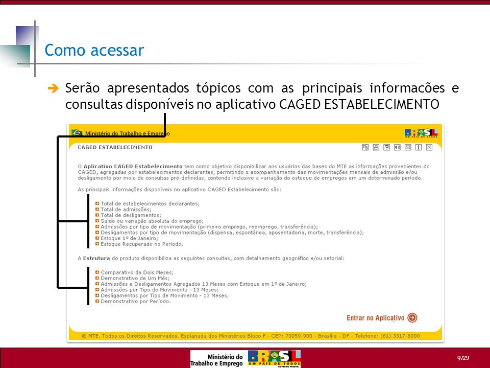 Como acessarSerão apresentados tópicos com as principais informacões e consultas disponíveis no aplicativo CAGED ESTABELECIMENTO.