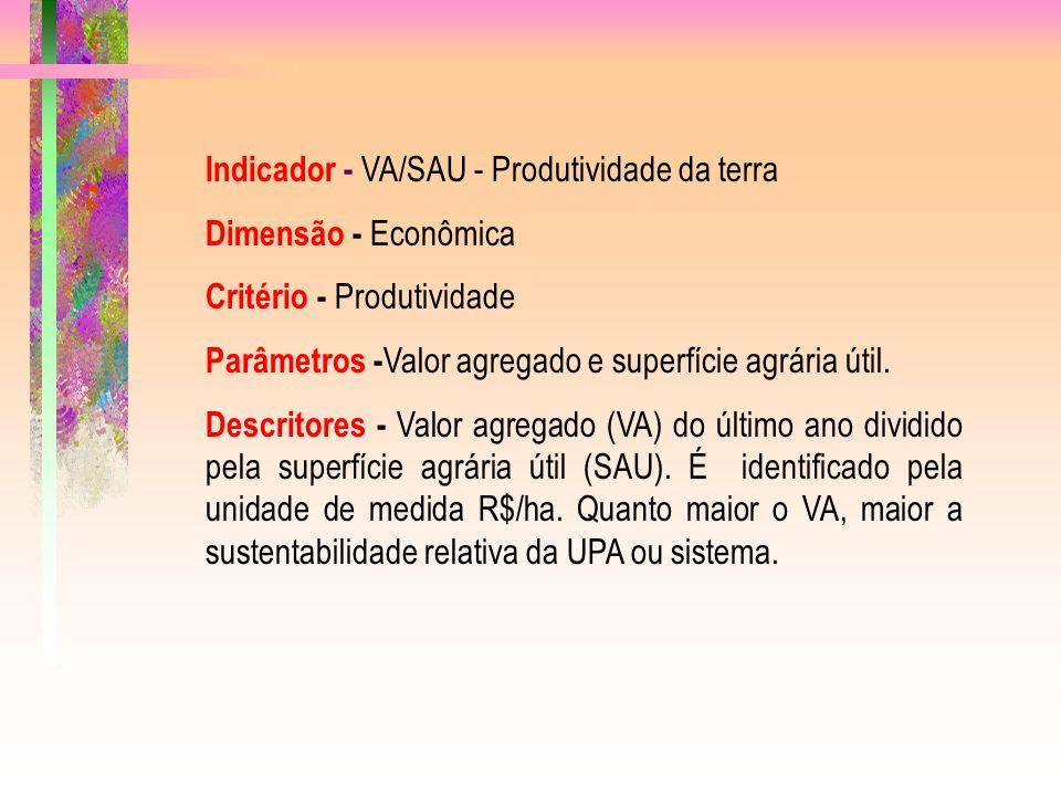 Indicador - VA/SAU - Produtividade da terra