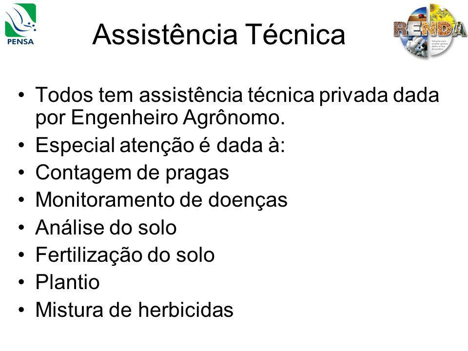 Assistência Técnica Todos tem assistência técnica privada dada por Engenheiro Agrônomo. Especial atenção é dada à: