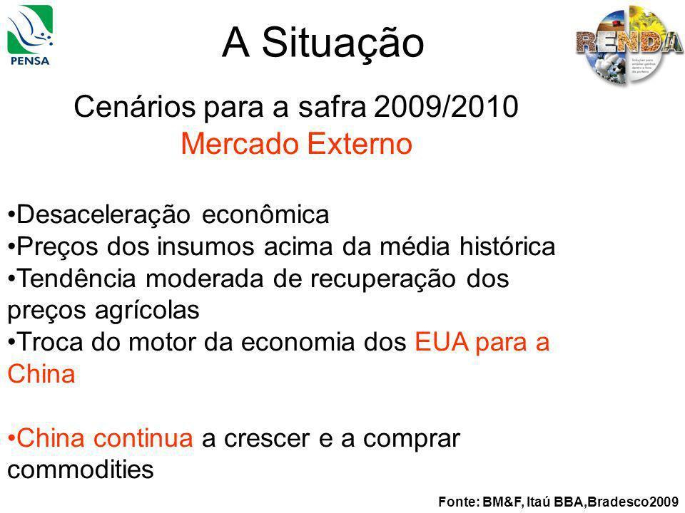 A Situação Cenários para a safra 2009/2010 Mercado Externo