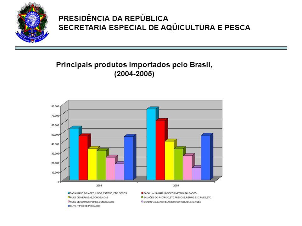 Principais produtos importados pelo Brasil, (2004-2005)