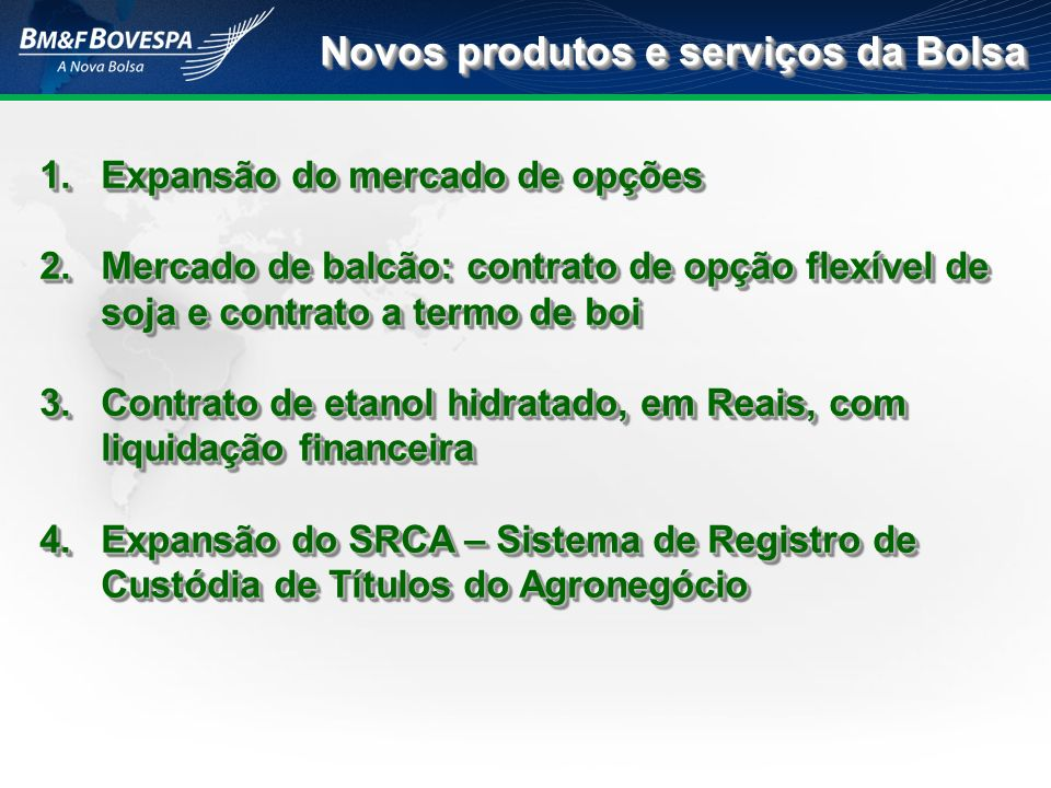 Novos produtos e serviços da Bolsa