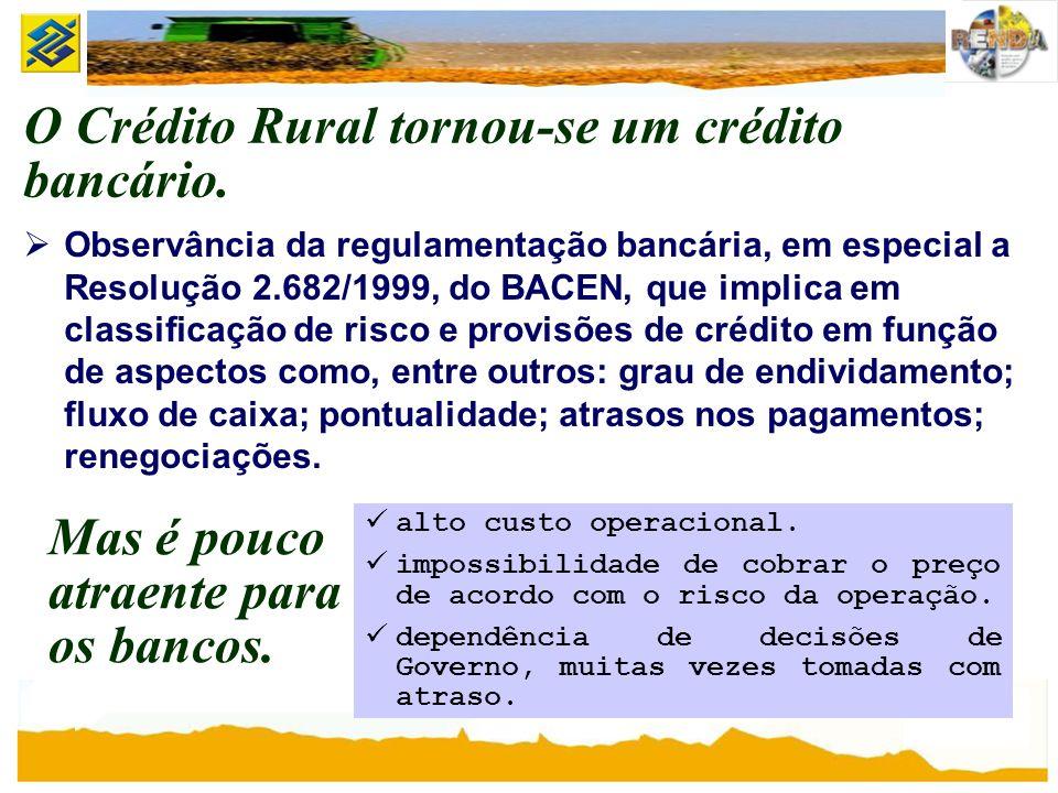 O Crédito Rural tornou-se um crédito bancário.