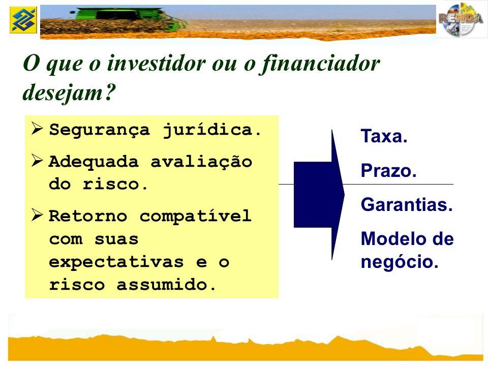 O que o investidor ou o financiador desejam