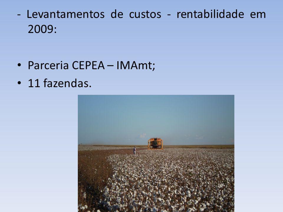 - Levantamentos de custos - rentabilidade em 2009: