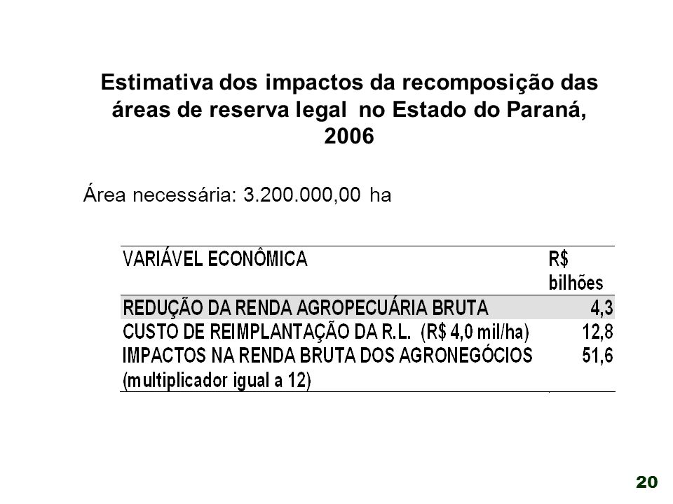 Estimativa dos impactos da recomposição das áreas de reserva legal no Estado do Paraná, 2006