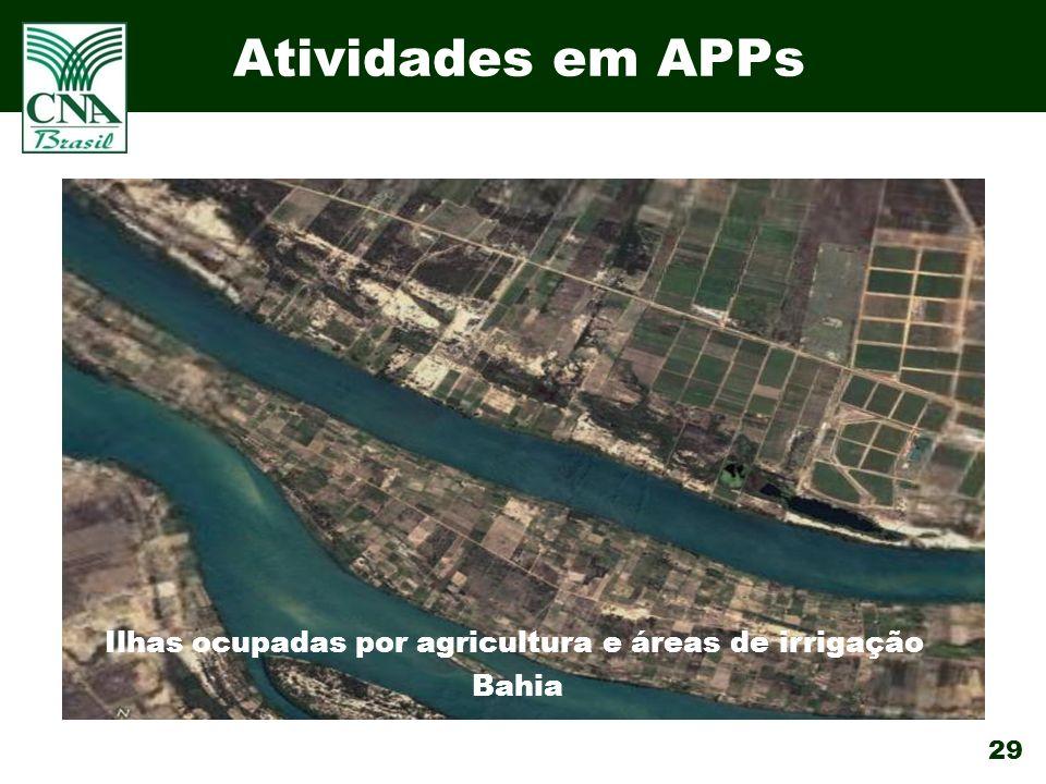 Ilhas ocupadas por agricultura e áreas de irrigação