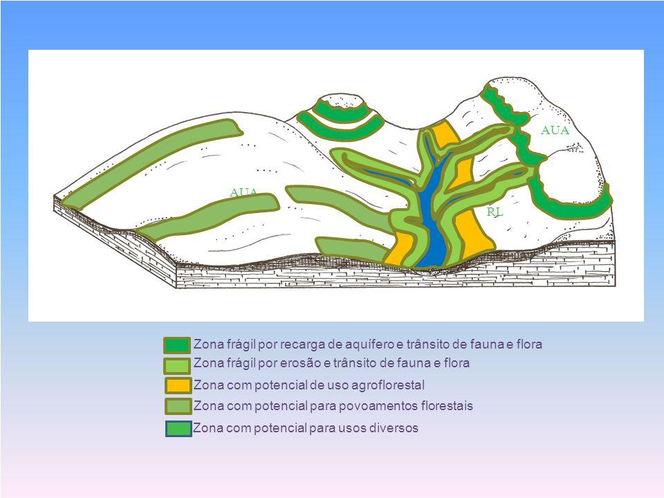 S AUA. RL. AUA. RL. Zona frágil por recarga de aquífero e trânsito de fauna e flora. Zona frágil por erosão e trânsito de fauna e flora.