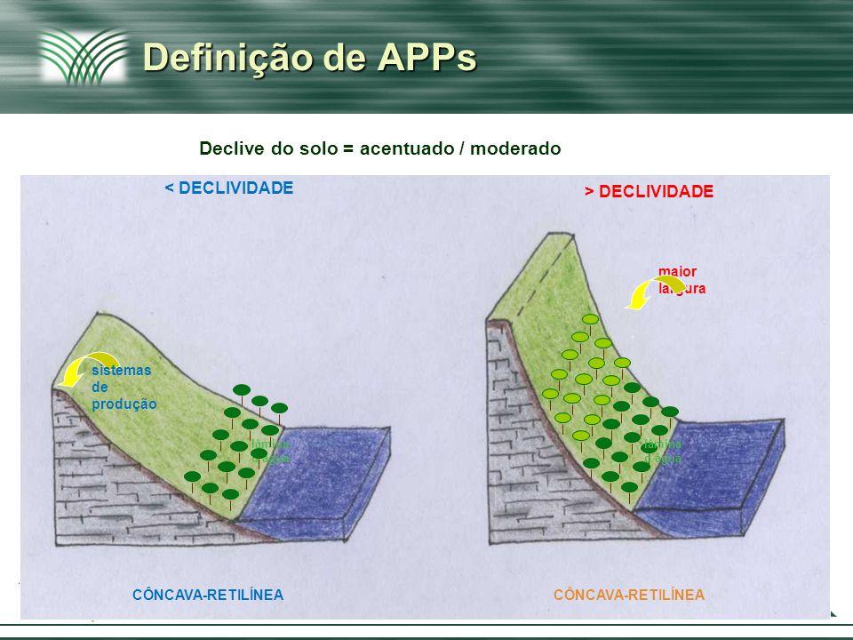 Definição de APPs Declive do solo = acentuado / moderado