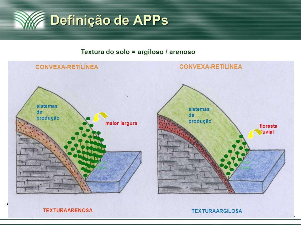 Definição de APPs Textura do solo = argiloso / arenoso