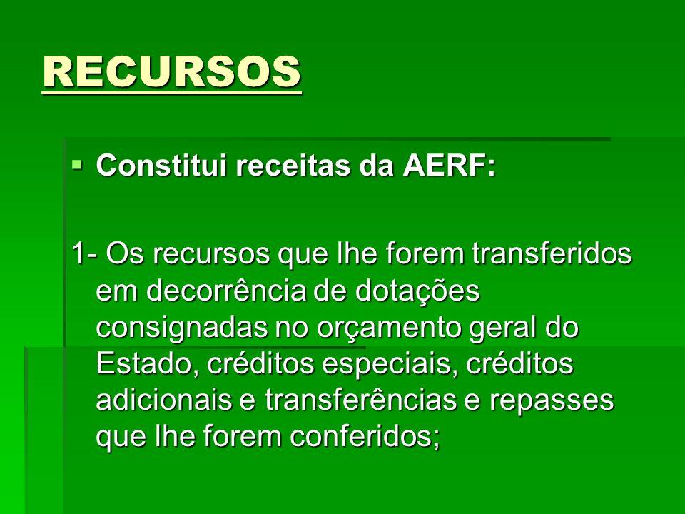 RECURSOS Constitui receitas da AERF: