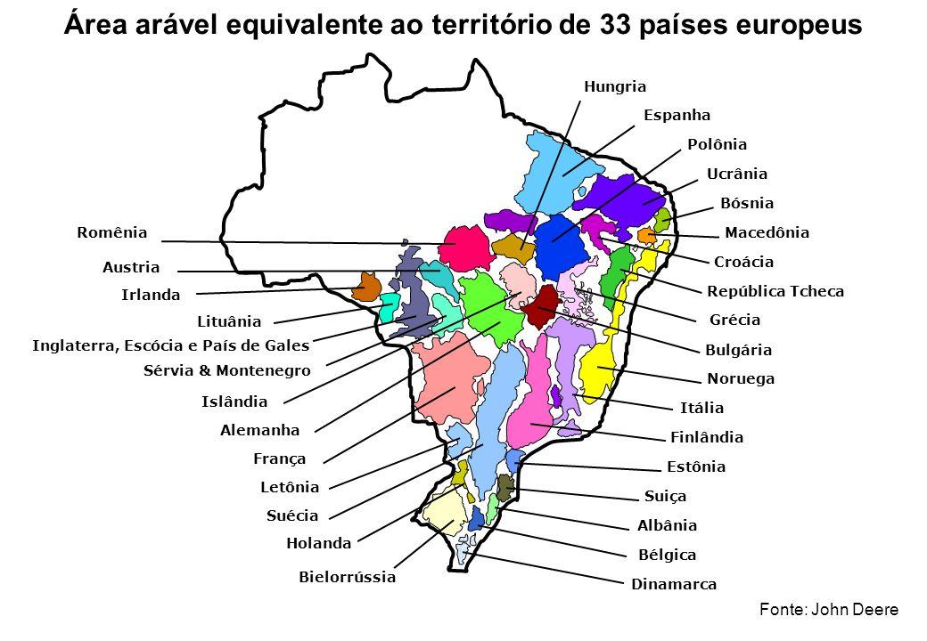 Área arável equivalente ao território de 33 países europeus
