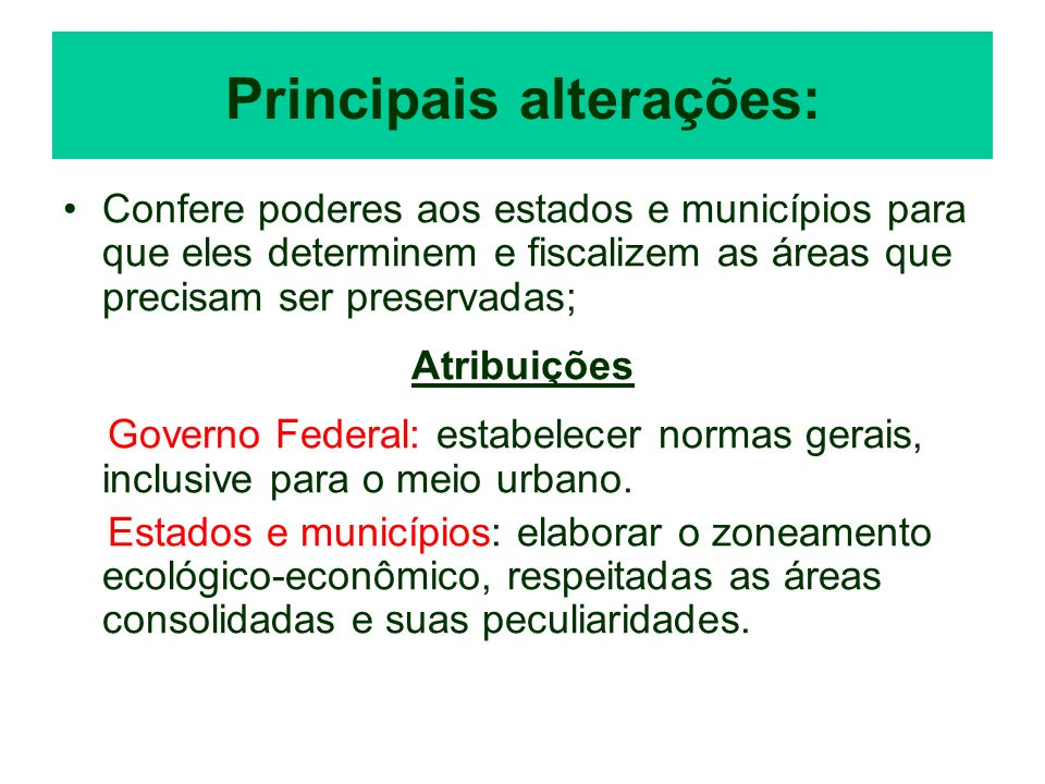 Principais alterações: