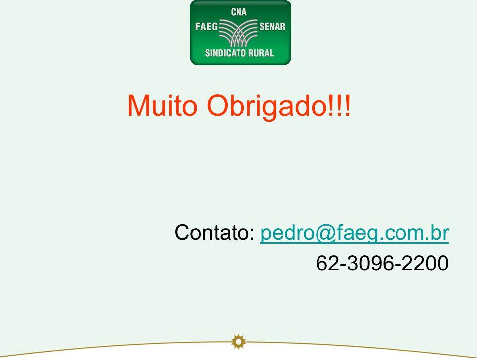 Muito Obrigado!!! Contato: pedro@faeg.com.br 62-3096-2200 12