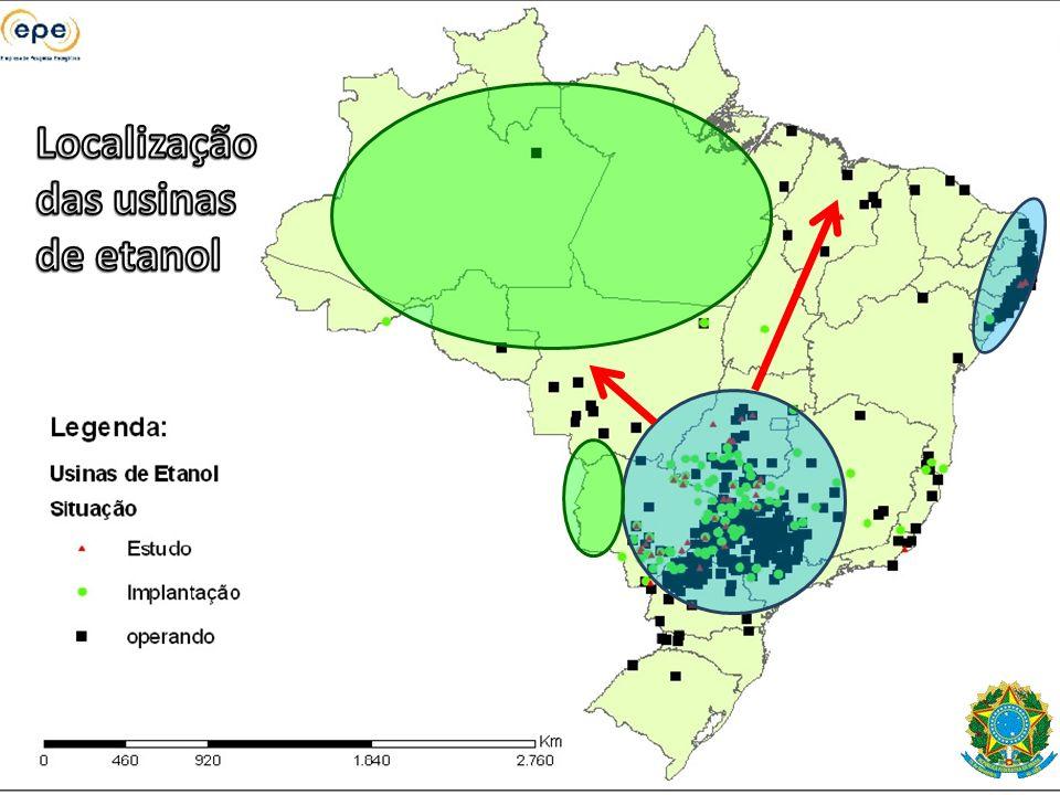 Localização das usinas de etanol