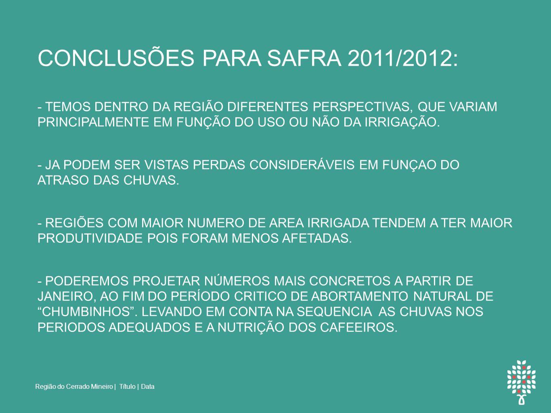 CONCLUSÕES PARA SAFRA 2011/2012: