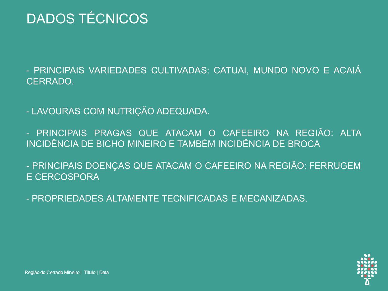 DADOS TÉCNICOS - PRINCIPAIS VARIEDADES CULTIVADAS: CATUAI, MUNDO NOVO E ACAIÁ CERRADO. - LAVOURAS COM NUTRIÇÃO ADEQUADA.