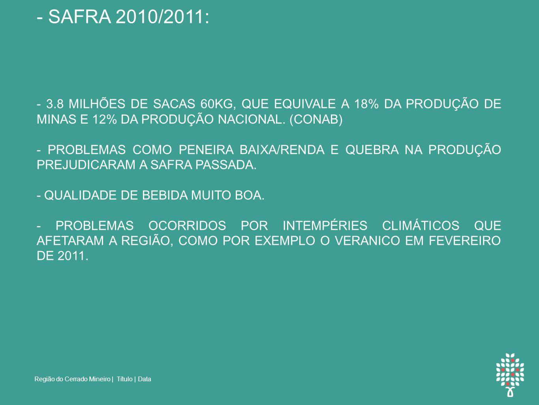NÚMEROS DE PRODUÇÃO: - SAFRA 2010/2011: