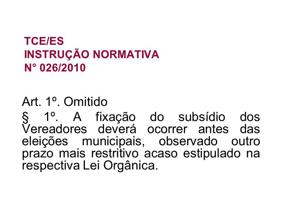 TCE/ES INSTRUÇÃO NORMATIVA N° 026/2010