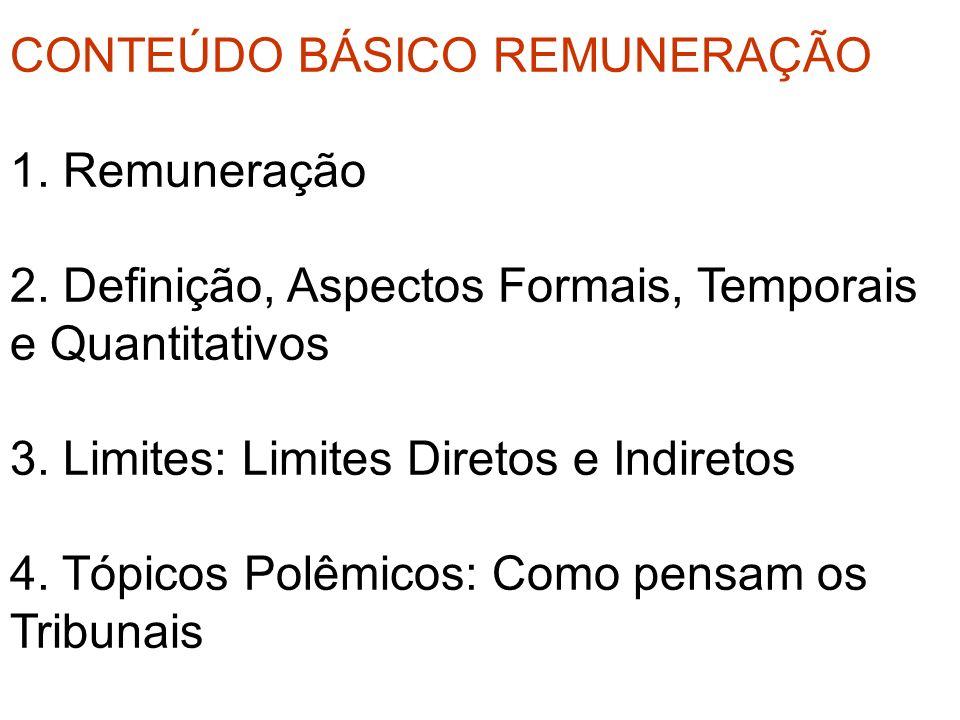 CONTEÚDO BÁSICO REMUNERAÇÃO 1. Remuneração 2