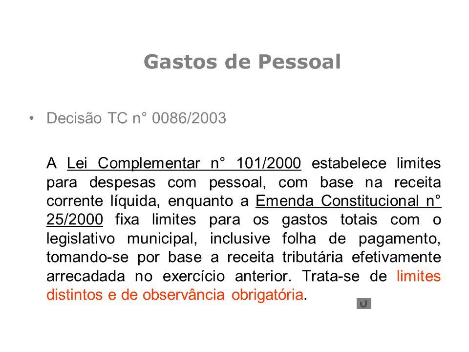 Gastos de Pessoal Decisão TC n° 0086/2003
