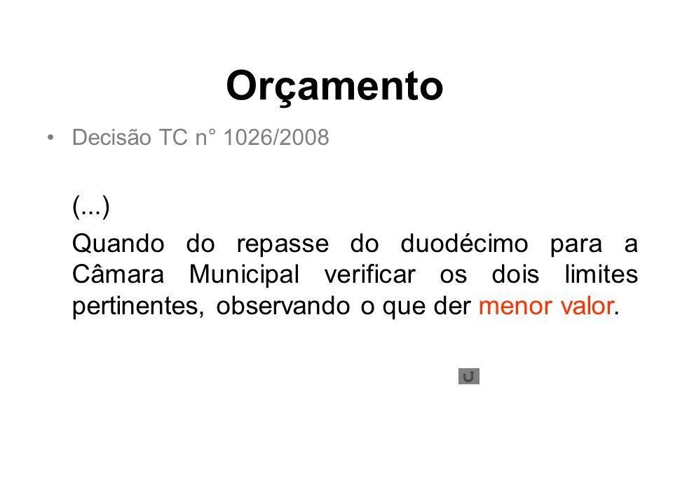 Orçamento Decisão TC n° 1026/2008. (...)