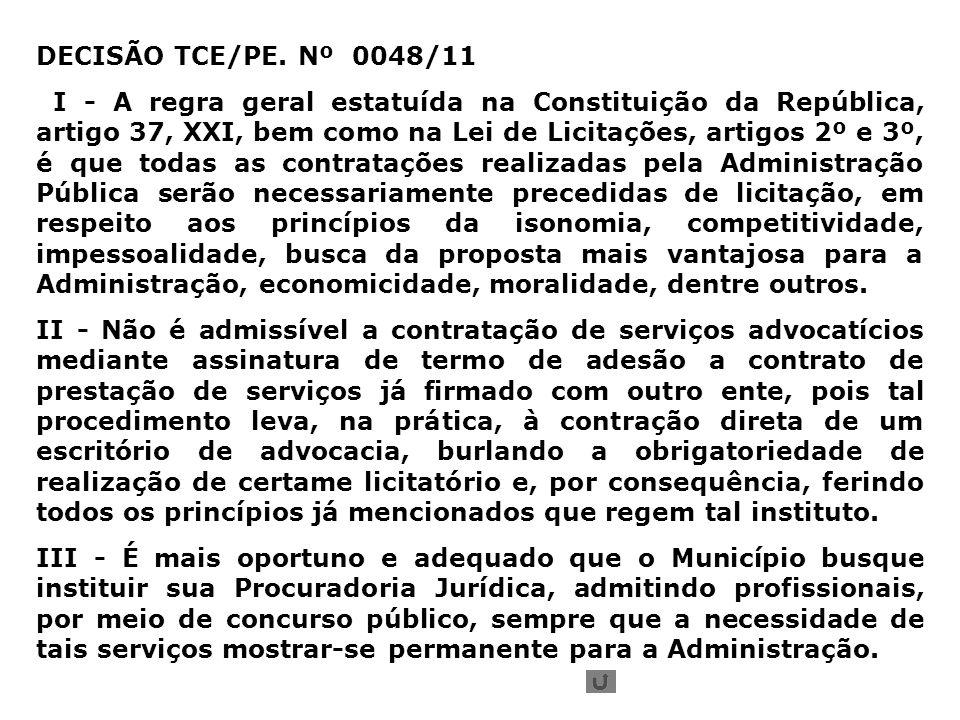 DECISÃO TCE/PE. Nº 0048/11