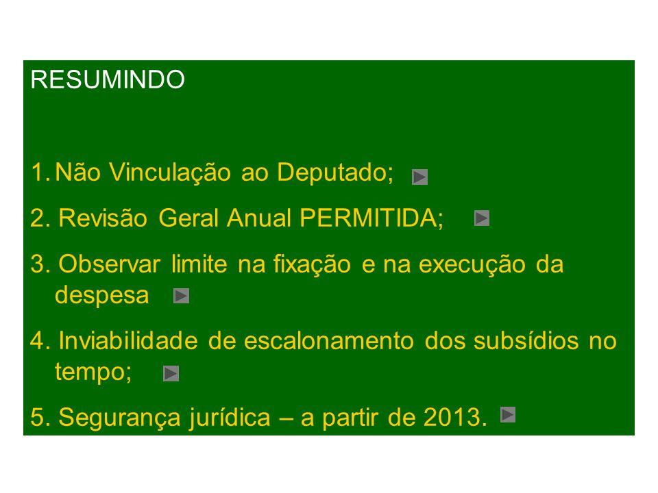 Não Vinculação ao Deputado; 2. Revisão Geral Anual PERMITIDA;