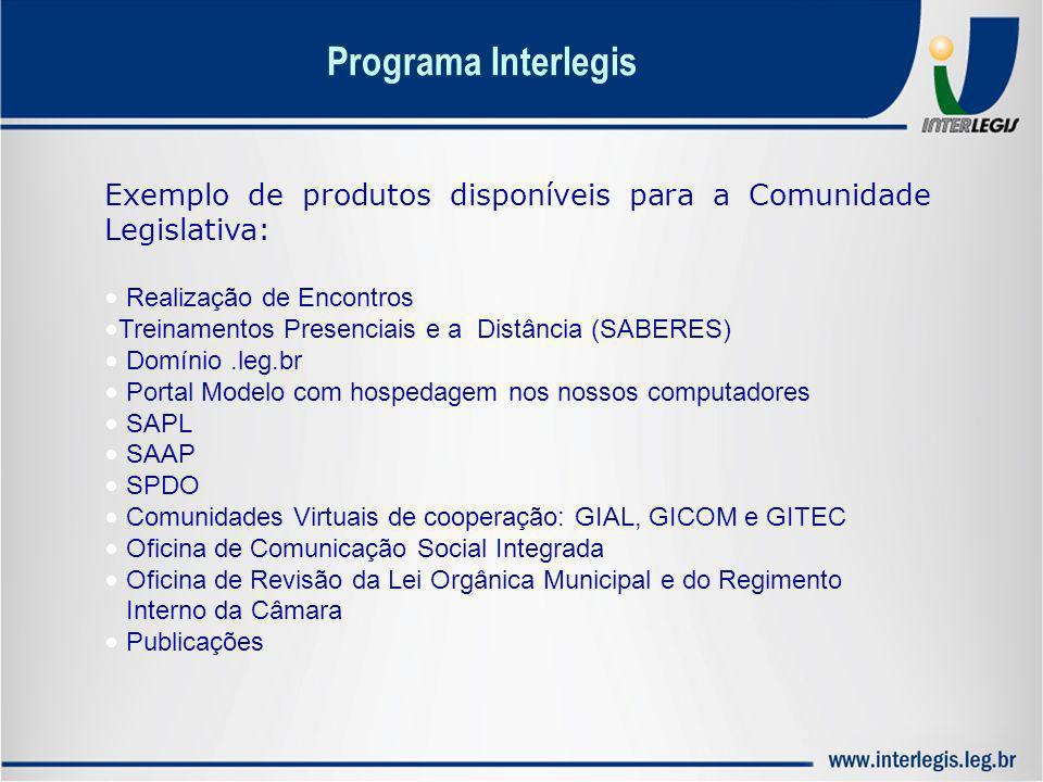Programa Interlegis Exemplo de produtos disponíveis para a Comunidade Legislativa: Realização de Encontros.