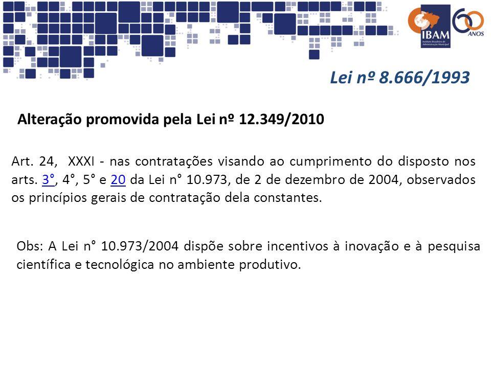 Lei nº 8.666/1993 Alteração promovida pela Lei nº 12.349/2010
