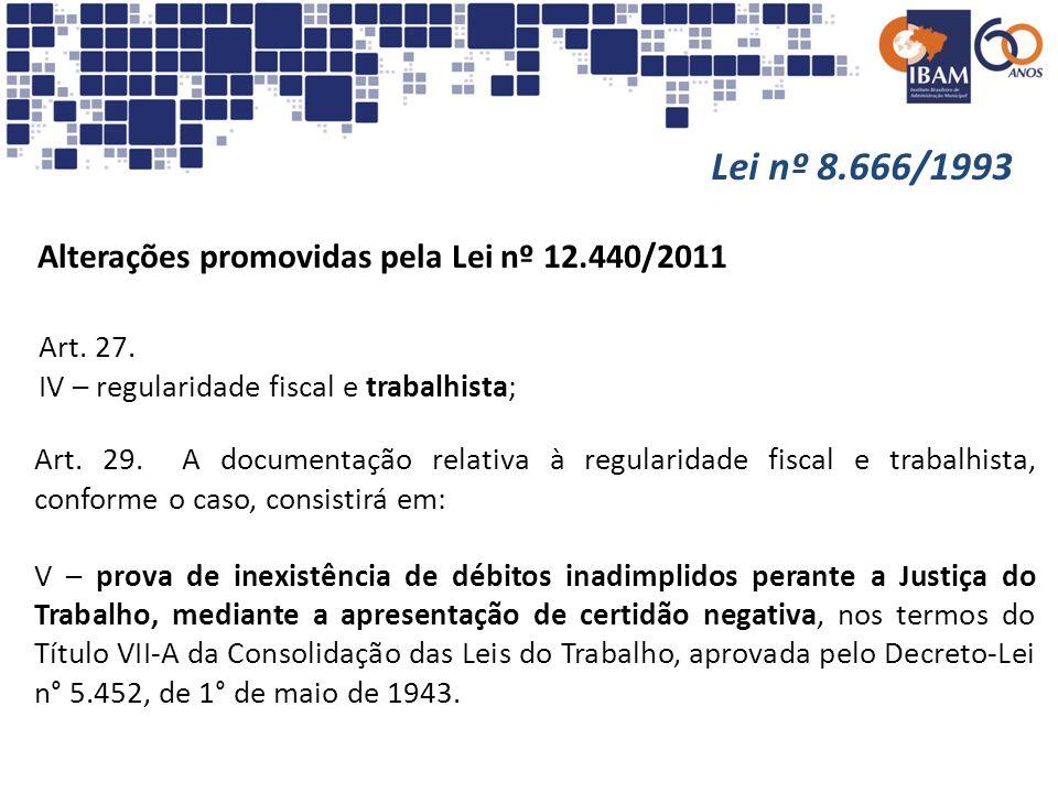 Lei nº 8.666/1993 Alterações promovidas pela Lei nº 12.440/2011