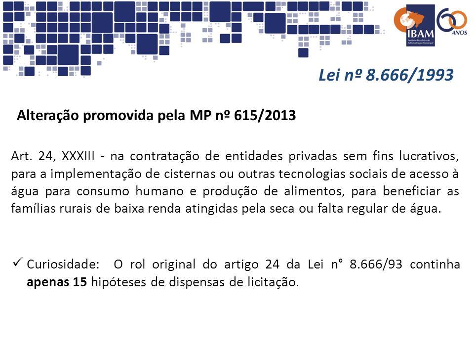 Lei nº 8.666/1993 Alteração promovida pela MP nº 615/2013