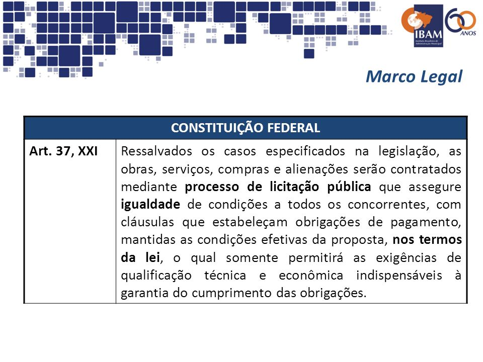 Marco Legal CONSTITUIÇÃO FEDERAL Art. 37, XXI
