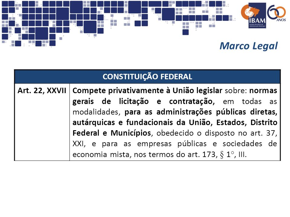 Marco Legal CONSTITUIÇÃO FEDERAL Art. 22, XXVII