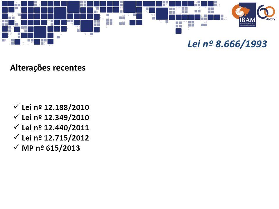 Lei nº 8.666/1993 Alterações recentes Lei nº 12.188/2010