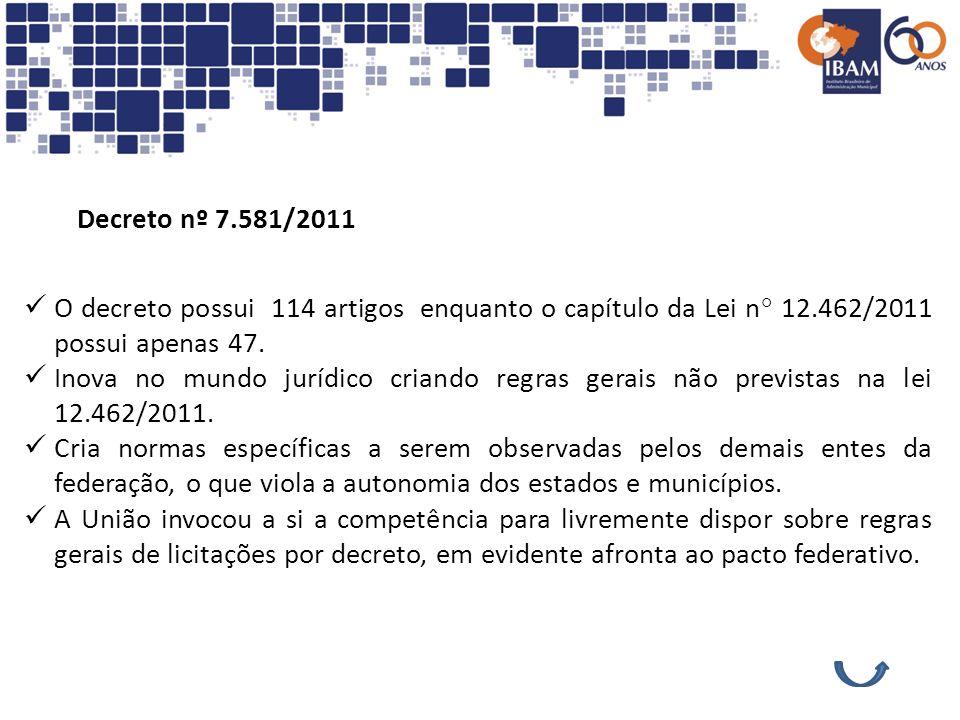 Decreto nº 7.581/2011O decreto possui 114 artigos enquanto o capítulo da Lei n° 12.462/2011 possui apenas 47.