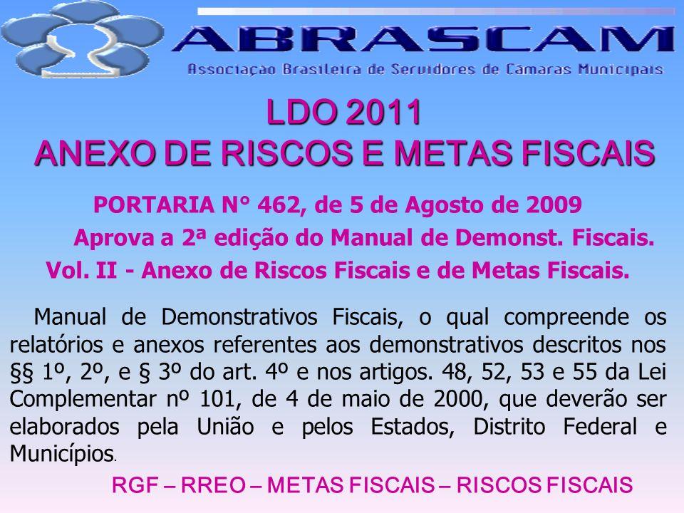 LDO 2011 ANEXO DE RISCOS E METAS FISCAIS