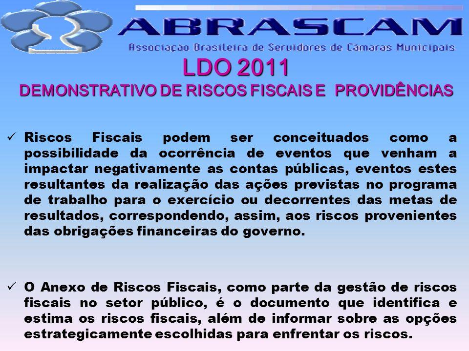 LDO 2011 DEMONSTRATIVO DE RISCOS FISCAIS E PROVIDÊNCIAS