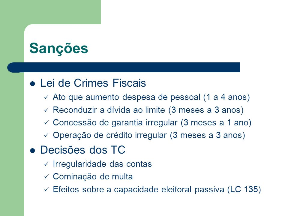 Sanções Lei de Crimes Fiscais Decisões dos TC