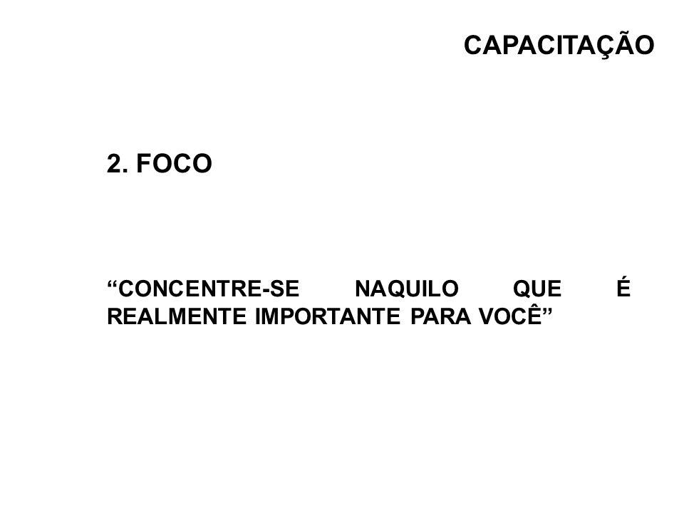 CAPACITAÇÃO 2. FOCO CONCENTRE-SE NAQUILO QUE É REALMENTE IMPORTANTE PARA VOCÊ