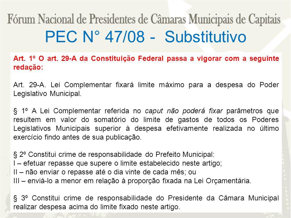 PEC N° 47/08 - Substitutivo Art. 1º O art. 29-A da Constituição Federal passa a vigorar com a seguinte redação: