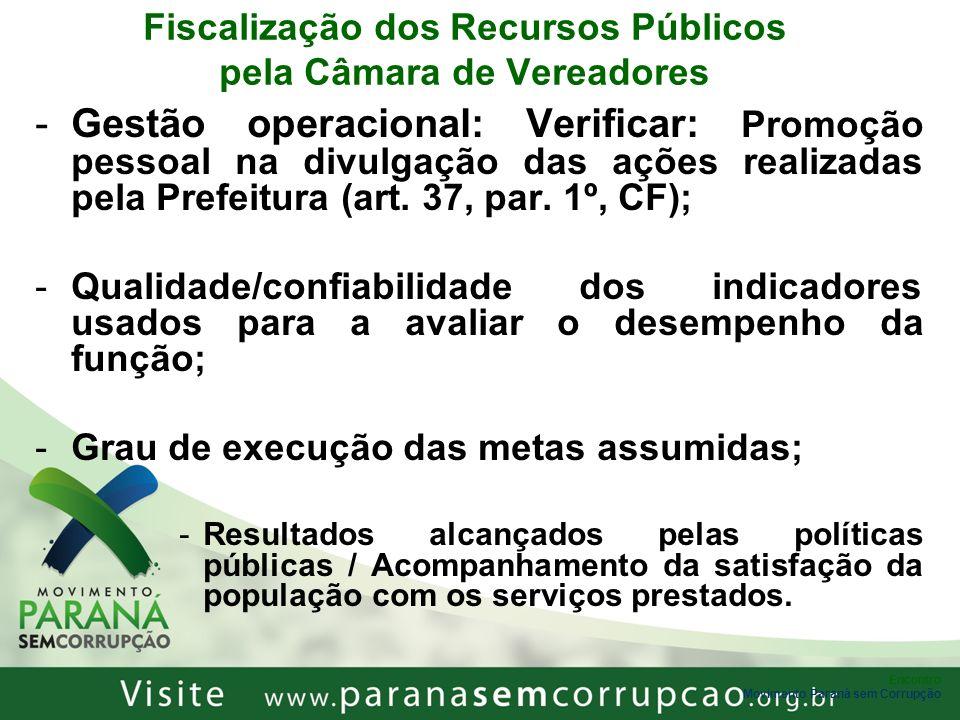 Fiscalização dos Recursos Públicos pela Câmara de Vereadores