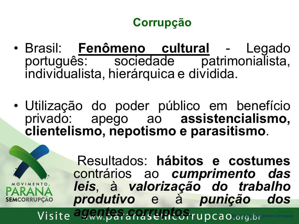 Corrupção Brasil: Fenômeno cultural - Legado português: sociedade patrimonialista, individualista, hierárquica e dividida.