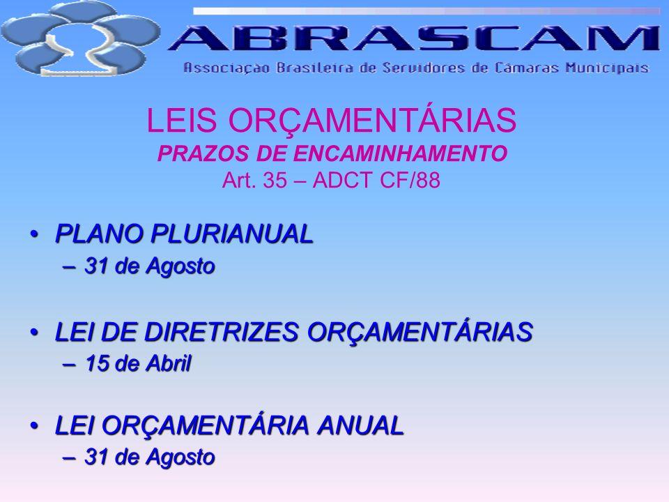 LEIS ORÇAMENTÁRIAS PRAZOS DE ENCAMINHAMENTO Art. 35 – ADCT CF/88
