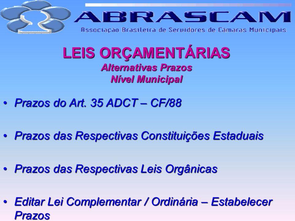 LEIS ORÇAMENTÁRIAS Alternativas Prazos Nível Municipal