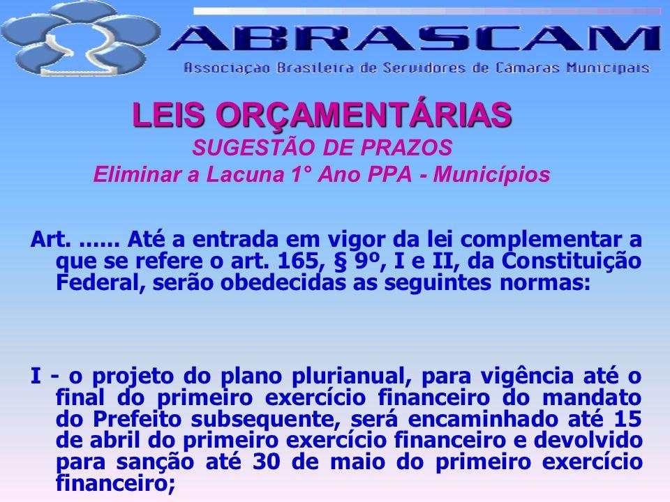 LEIS ORÇAMENTÁRIAS SUGESTÃO DE PRAZOS Eliminar a Lacuna 1° Ano PPA - Municípios