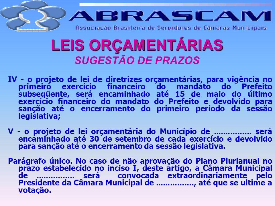 LEIS ORÇAMENTÁRIAS SUGESTÃO DE PRAZOS